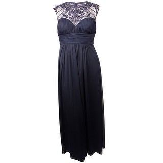 Xscape Women's Sequined Beaded Mesh Illusion Pleated Dress - Navy - 14