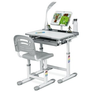 Link to Gymax Height Adjustable Kids Desk Chair Set Study Drawing w/Lamp & Similar Items in Kids' & Childrens Desks