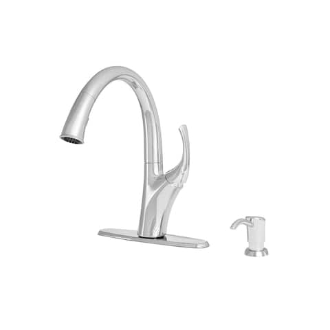 "Giagni PD250 Spirale 13"" Single-Hole Pull-Down Kitchen Faucet with Dual-Function Docking Sprayhead and Soap Dispenser"