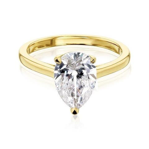 Annello by Kobelli 14k Gold Pauline Pear Solitaire Ring (GH/VS)