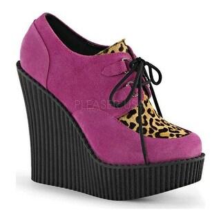 Demonia Women's Creeper 304 Wedge Oxford Hot Pink Vegan Suede/Leopard Pony Hair