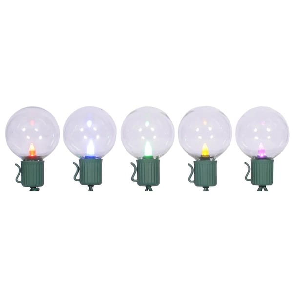 Set of 10 LED Multi-Color G40 Globe Christmas Lights - Green Wire