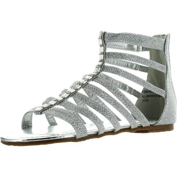 Bamboo Womens Fenchel 43 Gladiator Rhinestone Glitter Thong Flat Sandals  Silver ef5d3ba109d7