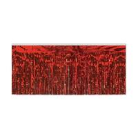 Pack of 6 Red 2-Ply Hanging Metallic Fringe Drape Decorations 10'