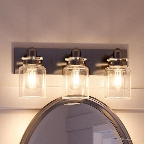 "Luxury Modern Farmhouse Brushed Nickel Bathroom Vanity Light - 8-5/8""H x 21-5/8""W x 6-7/8""Dep"