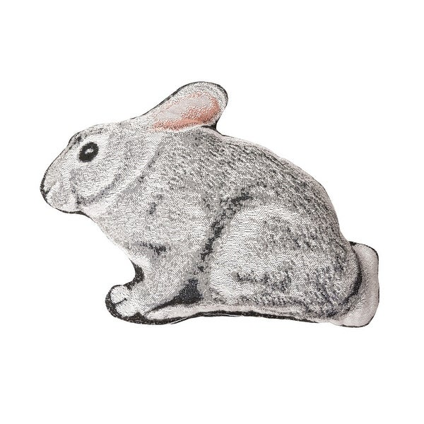 """14.5"""" White and Gray Bunny Rabbit Shaped Cotton Blend Plush Pillow. Opens flyout."""