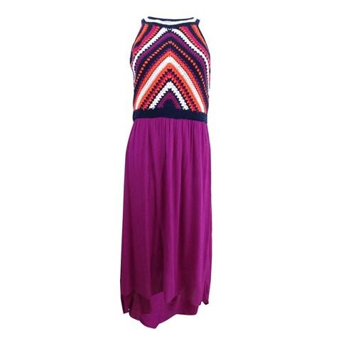 Sangria Purple Womens Size 12 Crochet Lace High Low Maxi Dress