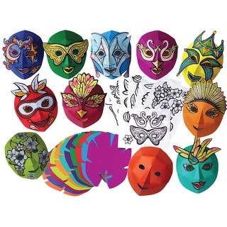 Roylco Easy-To-Decorate Mardi Gras Mask, 8-1/2 x 10-1/2 Inches, Pack of 30