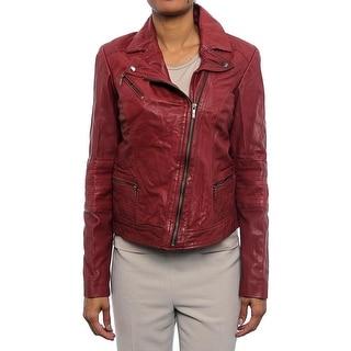 Cole Haan Women Leather Zip Moto Jacket Basic Jacket Red