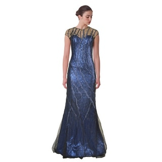 Rene Ruiz Sequin Tulle Overlay Illusion Cap Sleeve Evening Gown Dress