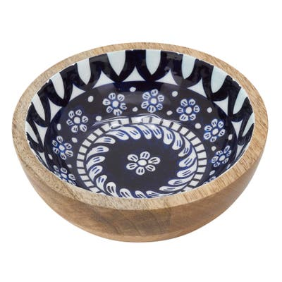 """Wood Serving Bowl With Floral Tile Enamel Design - 7""""x7"""""""