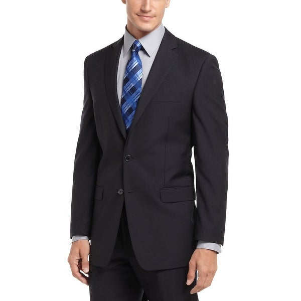 Calvin Klein Big and Tall Slim Midnight Blue Striped Sportcoat 50 Regular 50R