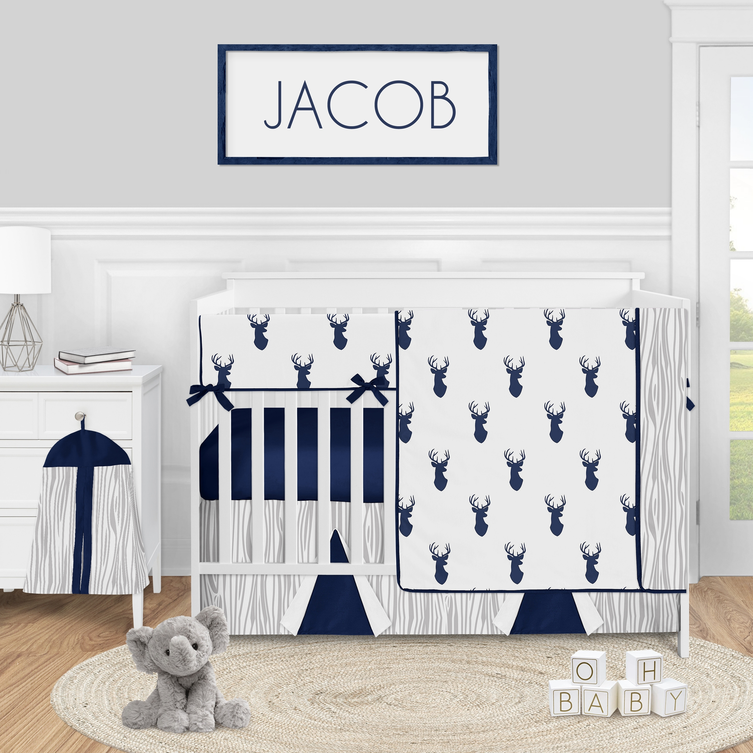 Woodland Deer Collection Boy 5 Piece Nursery Crib Bedding Set Navy Blue And White Stag Overstock 31290430