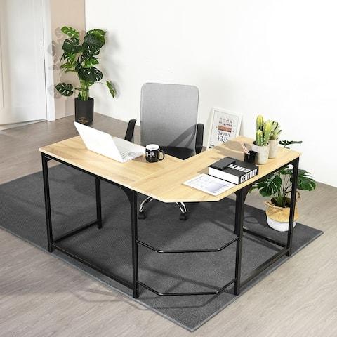 Homylin Wooden Oak Top L-Shaped Corner Computer Desk