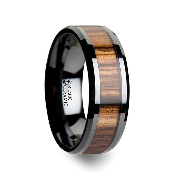 ZEBRANO Black Ceramic Ring with Beveled Edges and Real Zebra Wood Inlay 8mm