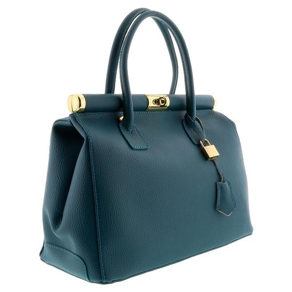HS8005 TL MINERVA Teal Leather Satchel/Shoulder  Bag