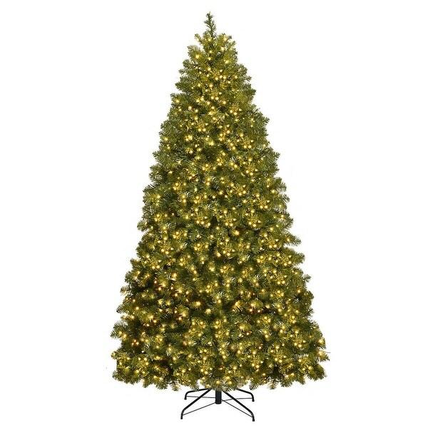 Gymax Pre-Lit 7' Artificial PVC Christmas Tree Hinged 700 LED Lights