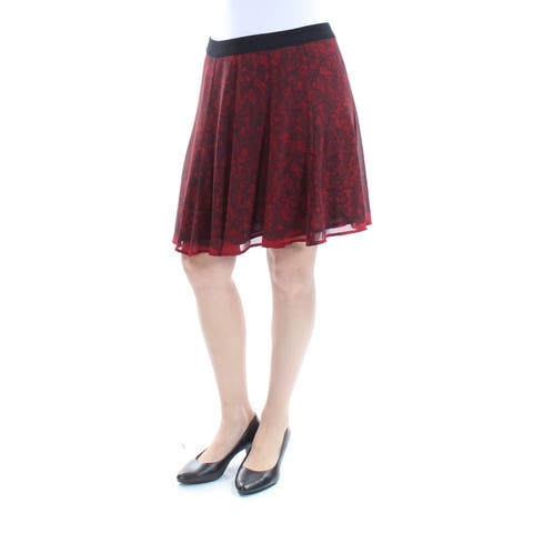MICHAEL KORS Womens Red Lace Above The Knee A-Line Skirt Size: 6