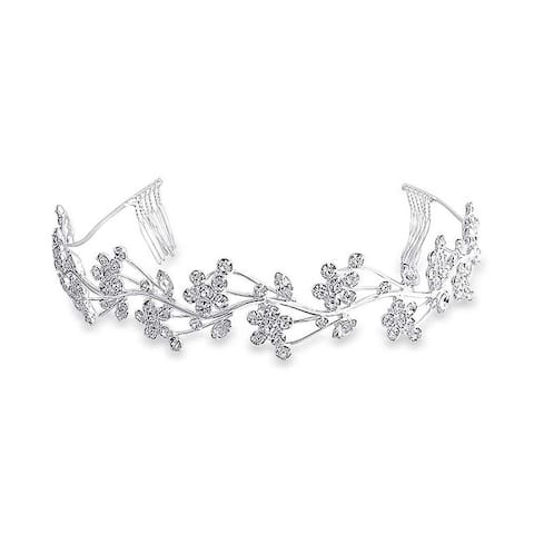 Flowers Vine Leaves Headband For Wedding Crystal Tiara Comb Headpiece Hair Accessories For Bride Party Prom Birthday