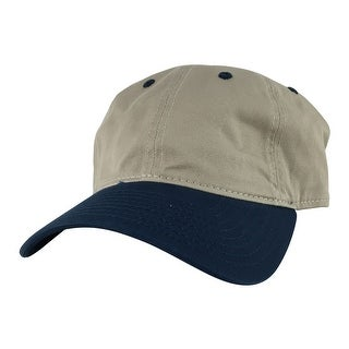 CapRobot Style#205 2Tone Unstructured Low Profile Strapback Hat Dad Cap - Khaki Navy Blue
