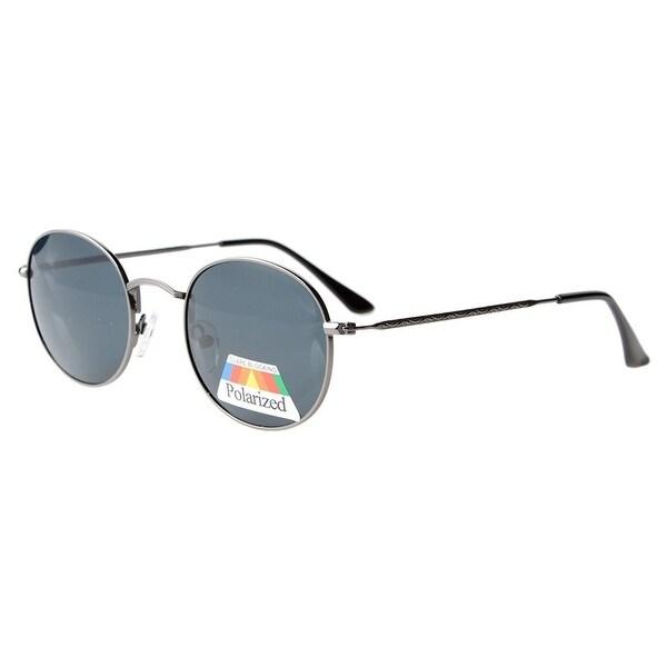 02c4e93080d Eyekepper Vintage Style Quality Round Polarized Sunglasses Gunmetal Frame-Grey  Lens