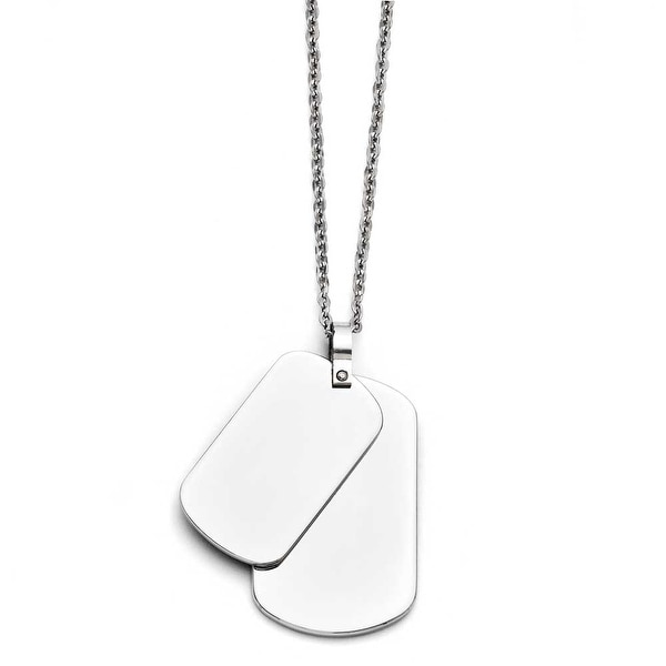 Chisel Stainless Steel Polished Double Dogtag Necklace (2 mm) - 20 in