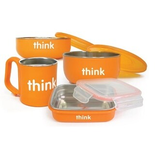 Thinkbaby Feeding Set - BPA Free - Orange Bowls and Utensils