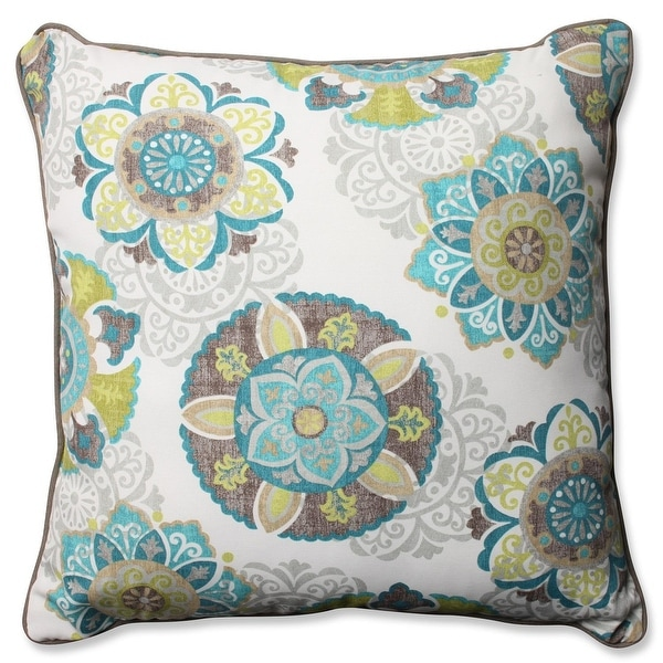 "25"" Suzani Print Outdoor Square Corded Throw Pillow"