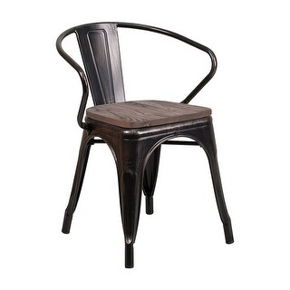 Offex Black-Antique Gold Metal Stackable Bistro Style Chair with Wood Seat and Arms - N/A