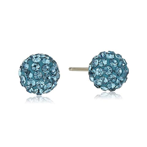 Crystaluxe Teal Ball Stud Earrings wtih Swarovski Crystals in 14K Gold