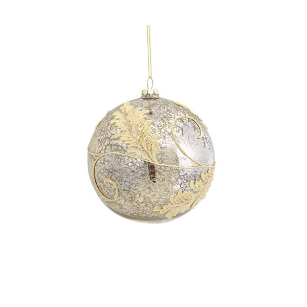"""4.75"""" Rich Elegance Silver and Gold Glitter Leaf Glass Ball Christmas Ornament"""