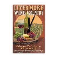 Livermore, CA - Wine Vintage Sign - LP Artwork (Acrylic Wall Clock) - acrylic wall clock