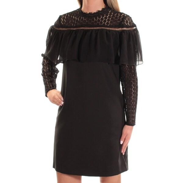 Kensie 99 Womens New 1224 Black Ruffled Long Sleeve Shift Dress Xs