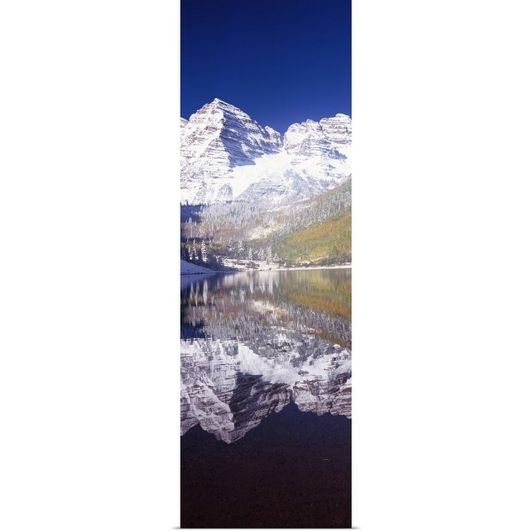 """Reflection of a mountain in a lake, Maroon Bells, Aspen, Pitkin County, Colorado,"" Poster Print"