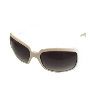 Levi Womens Sunglass LS126 02 White Plastic Rectangle, Green Gradient Lens - Medium