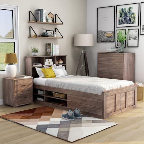Carbon Modern Farmhouse Multi-storage 3-piece Bed Set