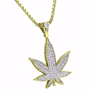 Marijuana Weed Leaf Pendant Iced Out Lab Diamonds Stainless Steel Necklace