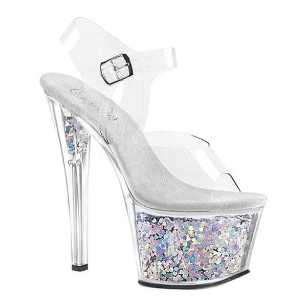 cd182478112 Shop Pleaser Women s Sky 308GF Ankle Strap Sandal Clear Silver Multi Glitter  - Free Shipping Today - Overstock - 22089821