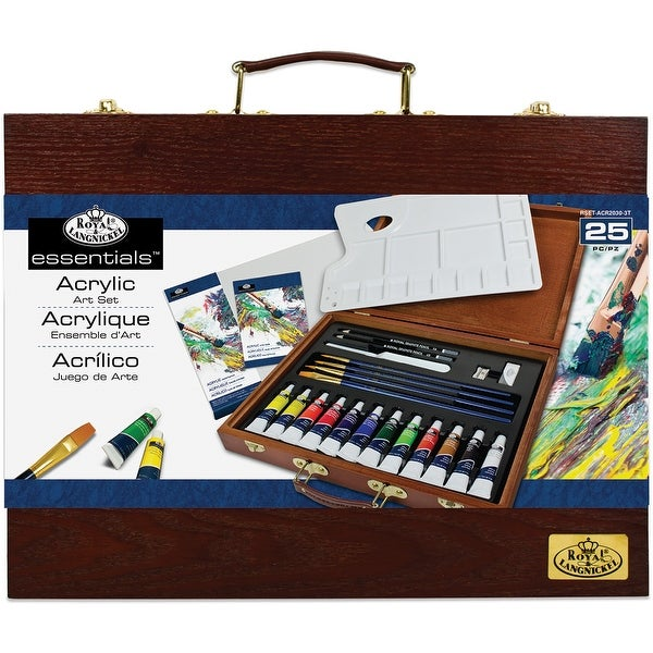 Wooden Box Art Set-Acrylic Painting 25pc