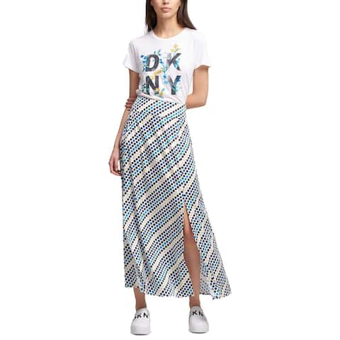 DKNY Women's Printed Slit Maxi Skirt (Multi, 6)