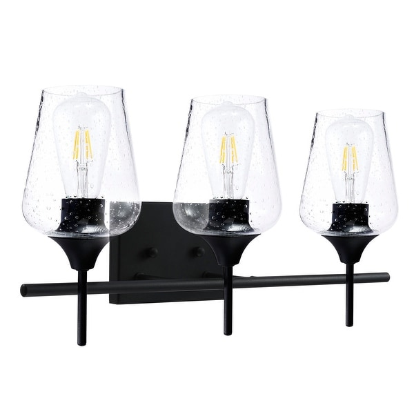 CO-Z Matte Black Vanity Light with Clear Seeded Glass Shade. Opens flyout.