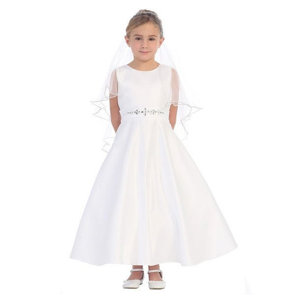 34ae2c90174 Shop Girls White Sparkle Rhinestone A-Line Satin Elegant Communion Dress -  Free Shipping Today - Overstock.com - 18176419