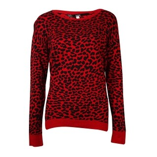 Kensie Women's Long-sleeve Cheetah Sweater
