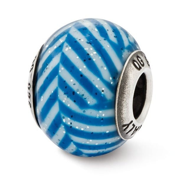 Italian Sterling Silver Reflections Blue Stripes with Glitter Glass Bead (4mm Diameter Hole)