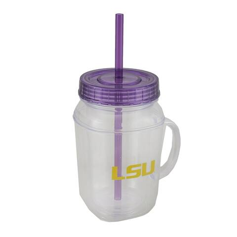 LSU Tigers 16 oz. Mason Jar With Straw and Lid - Purple - 6 X 3.5 X 3.5 inches
