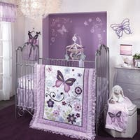 Lambs & Ivy Butterfly Lane Purple/White 5-Piece Nursery Baby Crib Bedding Set