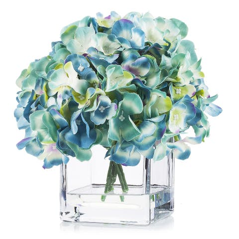 Enova Home Artificial Silk Hydrangea Flower Arrangement in Cube Glass Vase With Faux Water For Home Office Decoration - N/A
