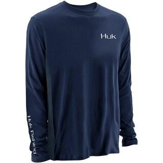 Huk Men's KC Scott Midnight Banks Icon Navy XX-Large Long Sleeve Shirt