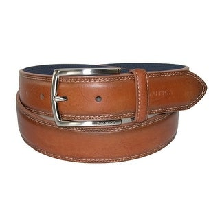 Nautica Men's Leather Feather Edge with Stitch Detail 1 3/8 Inch Belt