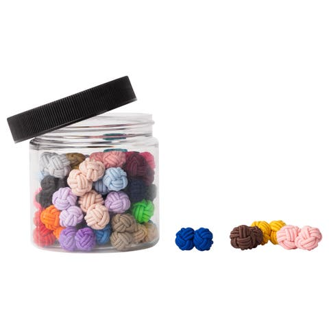 Jacob Alexander Gift Jar 25 Pairs Solid Color Silk Knot Cufflinks Bulk Collection - Medium